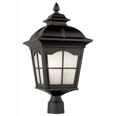 Bel Air Lighting Energy Saving 1-Light Outdoor Black Post Top Lantern with Frosted Glass