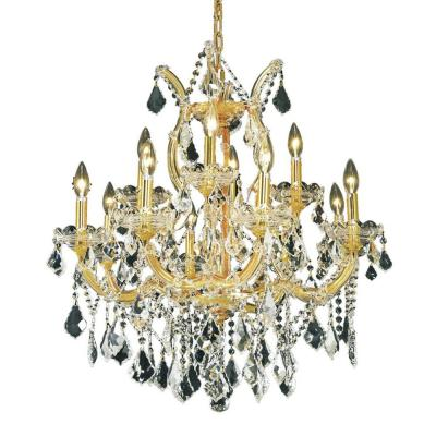 13-Light Gold Chandelier with Clear Crystal