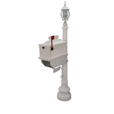 1812 Beaumont 72 in. Plastic White Mailbox with Lantern Post Product Photo