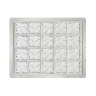 Wave Pattern Vinyl Framed Glass Block Window with White Colored Vinyl Nailing Fin