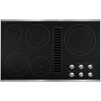 36 in. Downdraft Vent Ceramic Glass Electric Cooktop in Stainless Steel