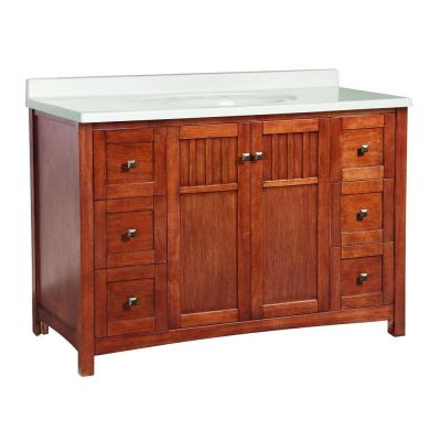 Foremost Knoxville 49 in. W x 22 in. D Vanity in Nutmeg with Vanity Top in White