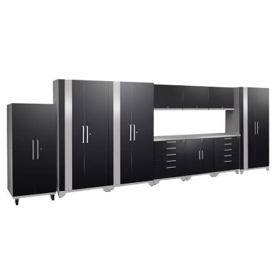 NewAge Products Performance Plus 2.0 80 in. H x 220 in. W x 24 in. D Steel Garage Cabinet Set in Black (11-Piece)