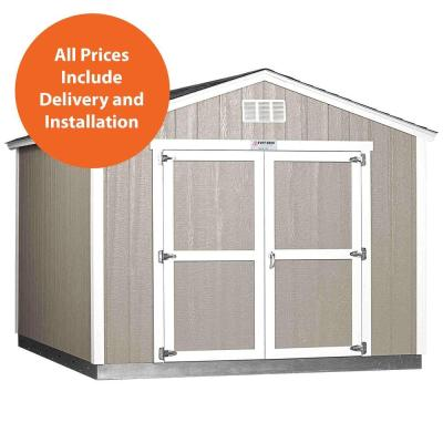 Installed Tahoe 10 ft. x 12 ft. x 8 ft. 10 in. Painted Wood Storage Building Shed with Shingles and Endwall Double Door Product Photo
