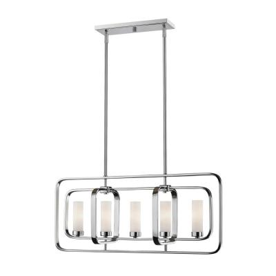 Filament Design Austin 5-Light Chrome Hanging Pendant with Matte Opal Glass Shade