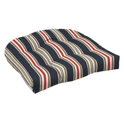 Hampton Bay Midnight Classic Stripe Tufted Outdoor Seat Cushion (2-Pack)-DISCONTINUED