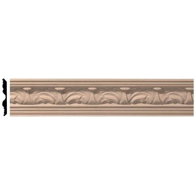 Ekena Millwork 3-5/8 in. x 96 in. x 3-1/4 in. Unfinished Wood Cherry Acanthus Leaf Carved Crown Moulding