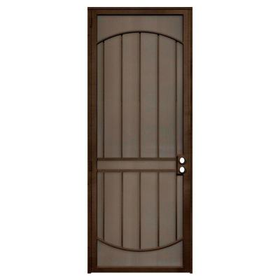 Unique Home Designs 36 in. x 96 in. Arcada Copper Surface Mount Left-Hand Steel Security Door with Expanded Metal Screen