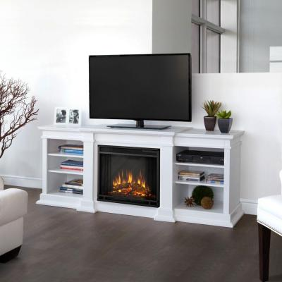 Fresno 72 in. Media Console Electric Fireplace in White