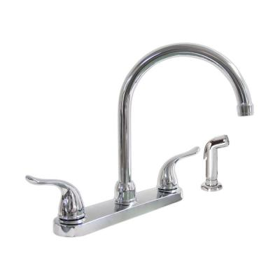 KISSLER & CO Dominion 2-Handle Standard Kitchen Faucet with Side Sprayer in Chrome