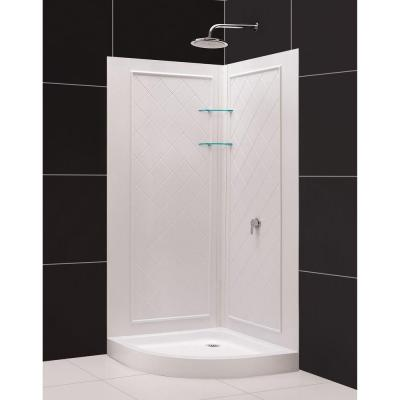 DreamLine QWALL-4 33 in. x 33 in. x 76-3/4 in. Standard Fit Shower Kit in White with Shower Base and Back Wall