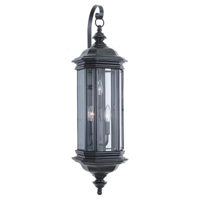 Sea Gull Lighting Hill Gate 3-Light Black Outdoor Wall Fixture