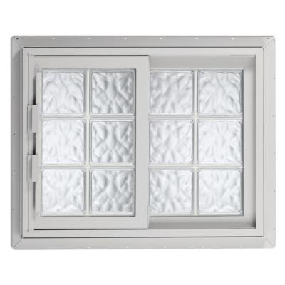 Hy-Lite 40.75 in. x 40.125 in. Acrylic Block Right-Hand Sliding Vinyl Window - White