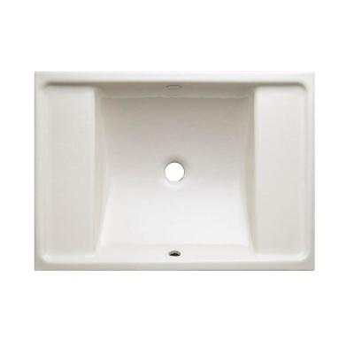 Ledges Under-Mount Cast Iron Bathroom Sink in Biscuit with Overflow Drain