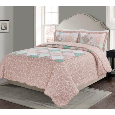 MHF Home Floral and Plaid Patchwork Quilt Set
