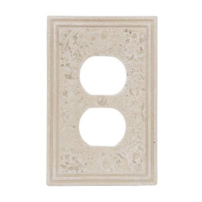 Amerelle Texture Stone 1 Duplex Wall Plate - Almond