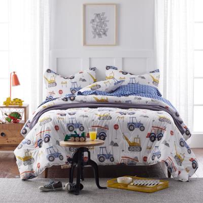 Construction Zone Graphic Organic Cotton Percale Comforter