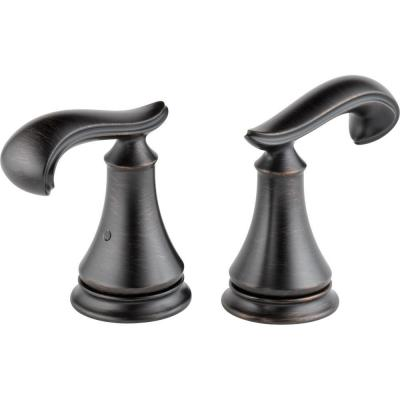 Delta Pair of Cassidy French Curve Metal Lever Handles for Roman Tub Faucet in Venetian Bronze