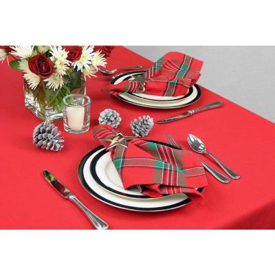 Christmas Red Solid Polyester Tablecloth