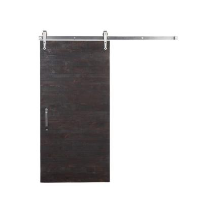 36 in. x 84 in. Rustica Reclaimed Stain, Glaze, Clear Wood Barn Door with Arrow Sliding Door Hardware Kit Product Photo