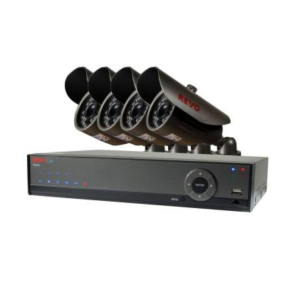 Lite 4-Channel 500GB 960H DVR Surveillance System with (4) 700TVL Bullet Cameras Product Photo