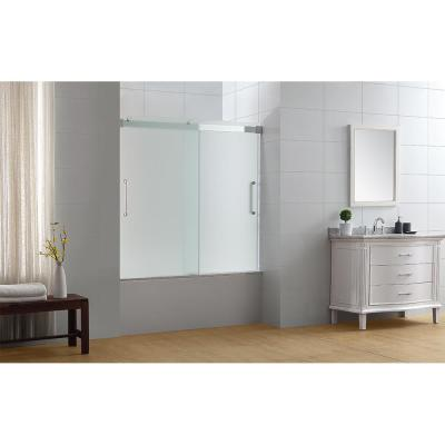 OVE Decors Beacon 60 in. x 59 in. Semi-Frameless Sliding Tub Door in Chrome with Handle