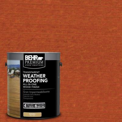 1-gal. #T-112 Barn Red Transparent Weatherproofing All-In-One Wood Finish