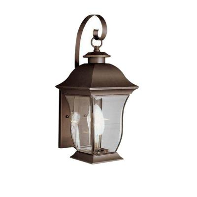 Wall Flower 2-Light Outdoor Weathered Bronze Post Lantern with Clear Glass