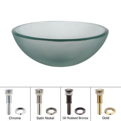 Vessel Sink in Frosted Glass with Pop-Up Drain and Mounting Ring