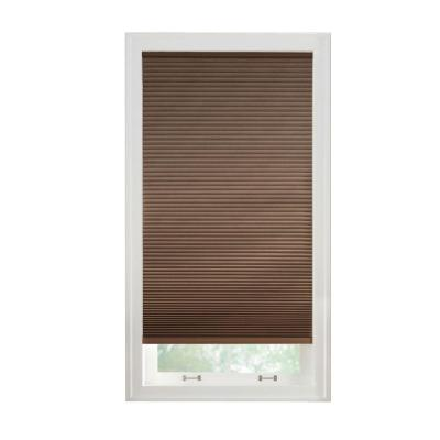 Cut to Width Mocha 9/16 in. Cordless Fabric Blackout Cellular Shade