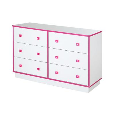 Logik 29-1/2 in. H x 47-1/2 in. W 6-Drawer Double Dresser in Pure White and Pink Product Photo