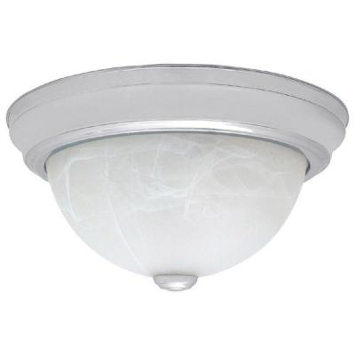 2-Light Chrome Flush Mount with Faux White Alabaster Glass Shade Product Photo