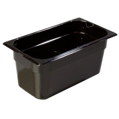 1/4 Size, 4 qt., 6 in. D High Heat Plastic Food Pan in Amber, Lid not Included (Case of 6) Product Photo