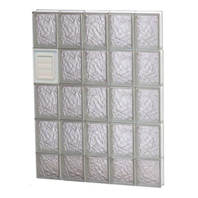 28.75 in. x 36.75 in. x 3.125 in. Ice Pattern Glass Block Window with Dryer Vent Product Photo