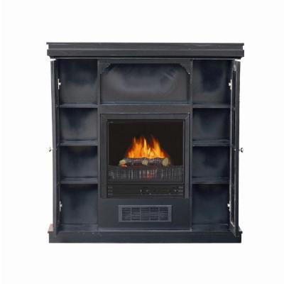 Stay-Warm 38 in. Electric Fireplace with 2-Door Storage in Black-DISCONTINUED