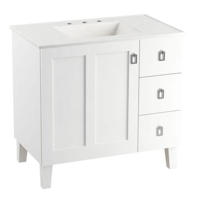 Poplin 36 in. Vanity in Linen White with Vitreous China Vanity