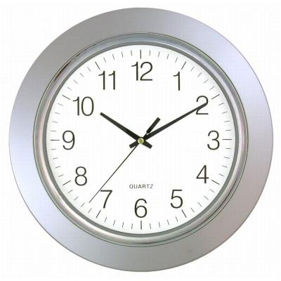 Timekeeper Products 13 in. Round Silver Frame Silver Rim Wall Clock