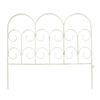 16 in. H White Wrought Iron Fence Chelsea Border Garden Fence Product Photo