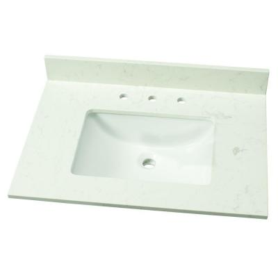 Home Decorators Collection 31 in. W Engineered Marble Single Vanity Top in Vanilla Sky with White Basin
