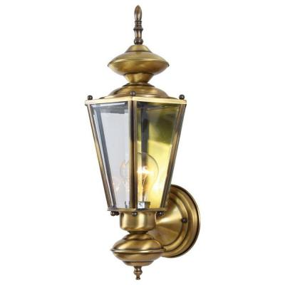Volume Lighting 1-Light Antique Solid Brass Outdoor Wall Mount