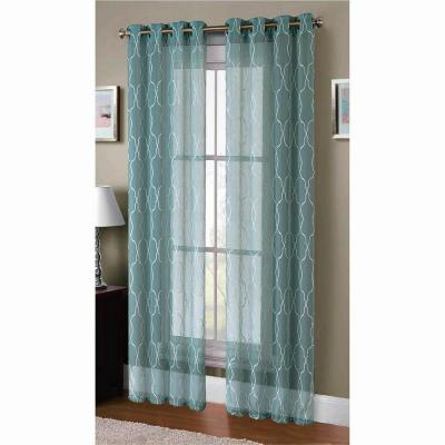 Window Elements Boho Embroidered Faux-Linen Sheer Grommet Extra Wide 2-Piece Set Collection - Window Curtain