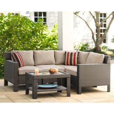 Hampton Bay Beverly 5-Piece Patio Sectional Seating Set with Beverly Beige Cushions