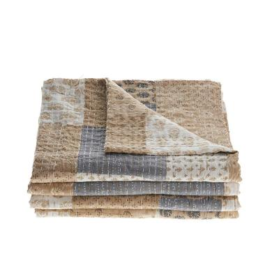 Kantha Patchwork Graphic Cotton Coverlet