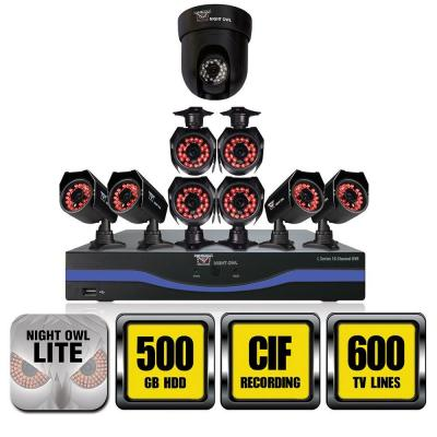 Night Owl 16-Channel 960H Surveillance System with 500GB Hard Drive (8) 600 TVL and 1 Pan/Tilt Cameras