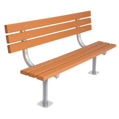 Ultra Play 6 ft. Cedar Commercial Park Recycled Plastic Bench with Back Surface Mount