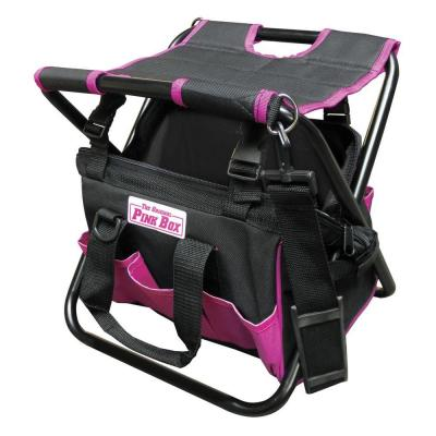 The Original Pink Box 8 in. Folding Tool Bag with Seat in Pink