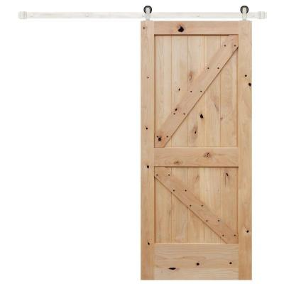 36 in. x 84 in. Rustic Unfinished 2 panel V-Groove Left Knotty Alder Wood Barn Door with Stainless Sliding Door Hardware Product Photo
