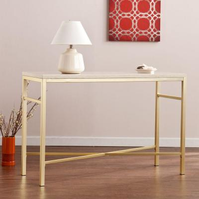 Southern Enterprises Nellie Matte Brass Faux Stone Tavertine Console Table