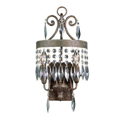 Cabernet Collection 2-Light Patina Bronze Sconce with Clear Crystal Prisms Product Photo