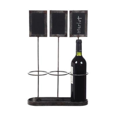 Home Decorators Collection 17.25 in. H Distressed Grey Metal Wine Bottle Holder with Chalkboard